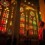 See the colourful interior of the Sagrada Familia